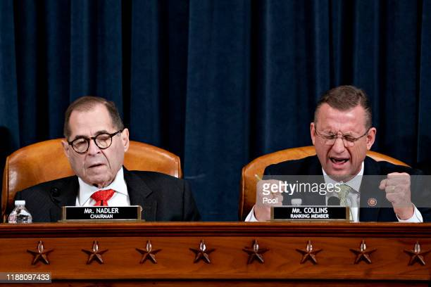 Ranking member Rep. Doug Collins speaks as House Judiciary Committee Chairman Jerry Nadler listens during a House Judiciary Committee markup hearing...