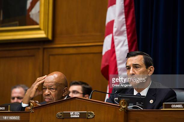 Ranking Member Rep Elijah Cummings and Committee Chairman Darrell Issa listen to testimony during a House Oversight Committee hearing entitled...