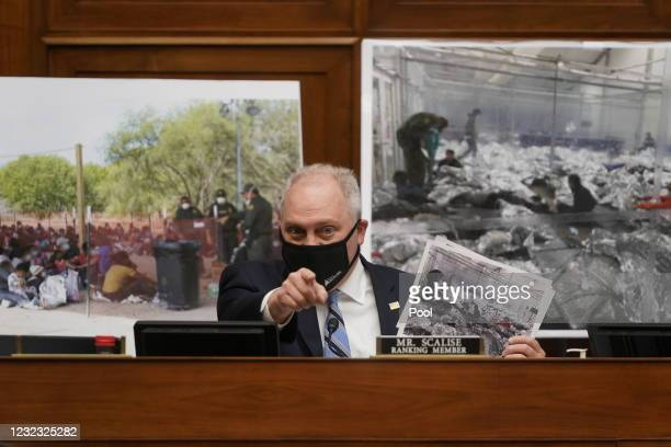 Ranking Member Rep. Steve Scalise holds up a photo of immigrants at a detention center during a House Select Subcommittee on the Coronavirus Crisis...