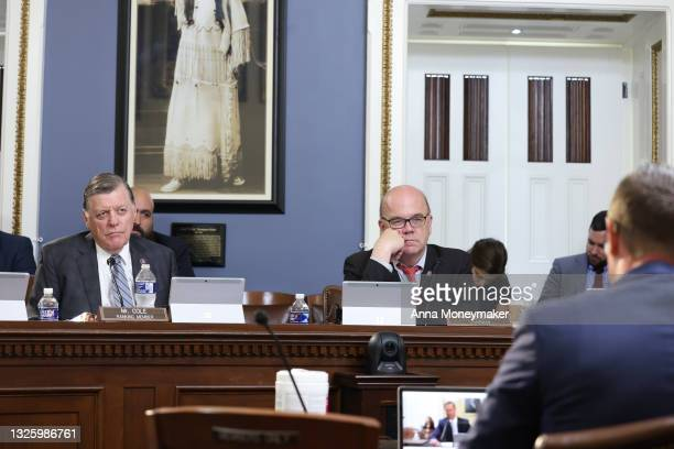 Ranking Member Rep. Tom Cole and Committee Chairman Jim McGovern listen at a House Rules Committee hearing on the procedures for upcoming votes at...