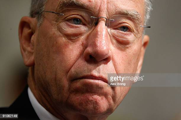 Ranking member Sen. Chuck Grassley listens during a mark up hearing before the U.S. Senate Finance Committee on Capitol Hill September 23, 2009 in...