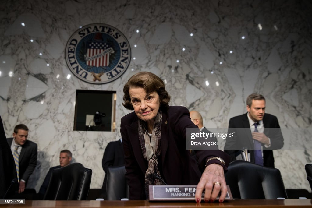 Ranking member Sen. Dianne Feinstein (D-CA) arrives for a Senate Judiciary Committee hearing concerning firearm accessory regulation and enforcing federal and state reporting to the National Instant Criminal Background Check System (NICS) on Capitol Hill, December 6, 2017 in Washington, DC.
