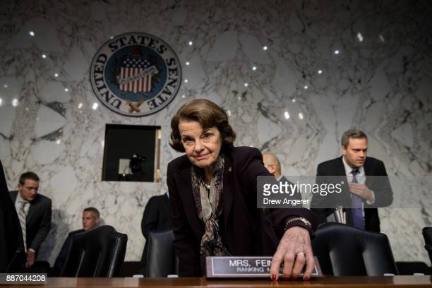 Ranking member Sen Dianne Feinstein arrives for a Senate Judiciary Committee hearing concerning firearm accessory regulation and enforcing federal...