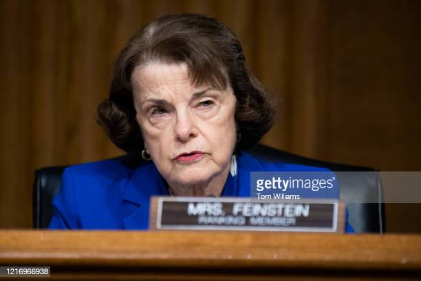 Ranking member Sen Dianne Feinstein DCalif makes an opening statement during the Senate Judiciary Committee hearing titled Examining Best Practices...