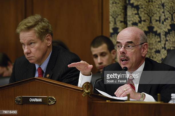 Ranking member Thomas M Davis III RVa and Chairman Henry A Waxman DCalif during the House Oversight and Government Reform Committee hearing on a...