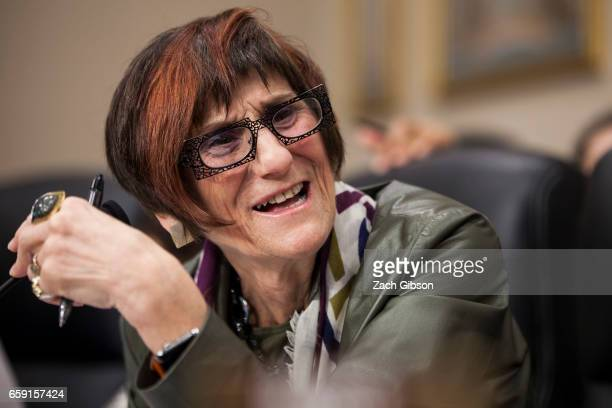 Ranking subcommittee member Rep Rosa DeLauro speaks during hearings on President Donald Trump's first budget attended by Patricia de Stacy Harrison...