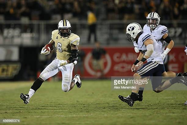 Rannell Hall of the UCF Knights runs after a reception during an NCAA football game at Bright House Networks Stadium on October 9 2014 in Orlando...