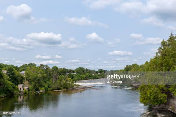 ranney falls on trent river, at small town campbellford, ontario,  canada - severn river stock pictures, royalty-free photos & images