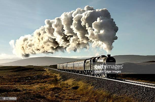 rannoch moor dawn - locomotive stock photos and pictures