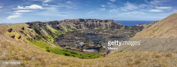 rano kau volcano crater panorama on easter island chile - caldera stock pictures, royalty-free photos & images