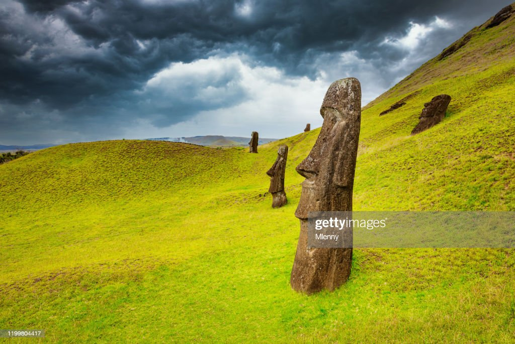 Rano Raraku Moai Easter Island Moai Rapa Nui Chile : Stock Photo