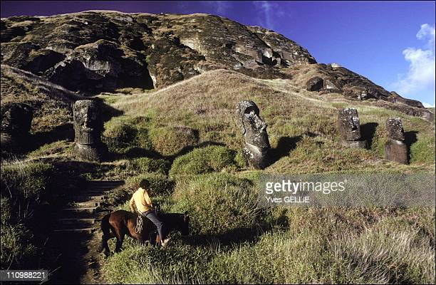 Rano Raraku Volcano The Statues Were Carved From Rock Quarried On The Slopes Of The Volcano In Easter Island Chile In 1999