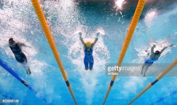 Ranomi Kromowidjojo of the Netherlands Sarah Sjostrom of Sweden and Rikako Ikee of Japan compete during the Women's 50m Butterfly semi final on day...