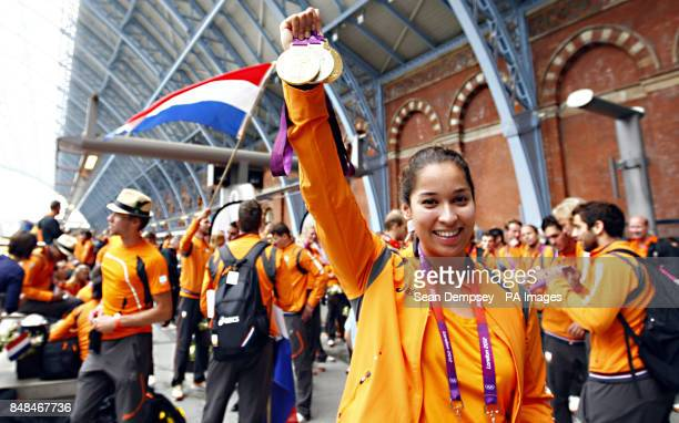 Ranomi Kromowidjojo who won two gold medals and a silver in swimming for the Dutch Olympic team as they leave the London 2012 Olympics on Eurostar...