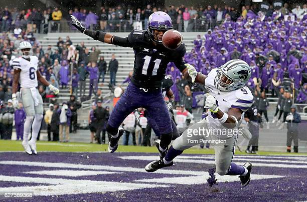 Ranthony Texada of the TCU Horned Frogs breaks up a touchdown pass intended for Byron Pringle of the Kansas State Wildcats in the first quarter at...