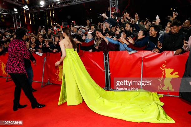 Ranveer Singh and Alia Bhatt arrive in Audi etron car for the Gully Boy premiere during the 69th Berlinale International Film Festival at...