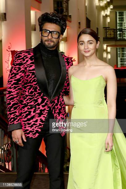 Ranveer Singh and Alia Bhatt attend the Gully Boy premiere during the 69th Berlinale International Film Festival Berlin at Friedrichstadtpalast on...