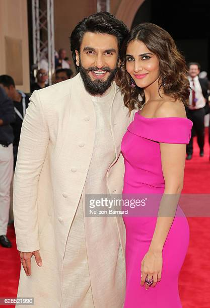Ranveer Singh and Vaani Kapoor attend the Befikre red carpet during day two of the 13th annual Dubai International Film Festival held at the Madinat...