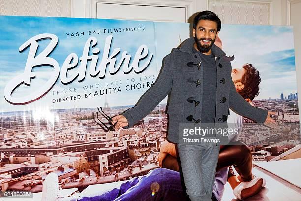 Ranveer Singh attends a photocall for Bollywood film 'Befikre' on November 21 2016 in London United Kingdom