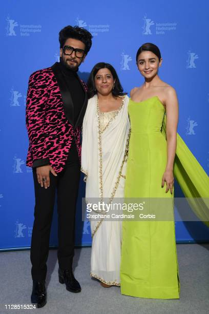 Ranveer Singh Director Zoya Akhtar and Alia Bhatt pose at the Gully Boy photocall during the 69th Berlinale International Film Festival Berlin at...
