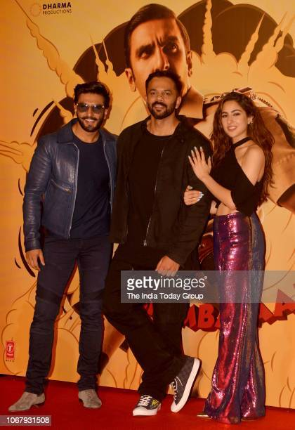 Ranveer Singh Rohit Shetty and Sara Ali Khan at the trailer launch of their movie Simmba in Mumbai