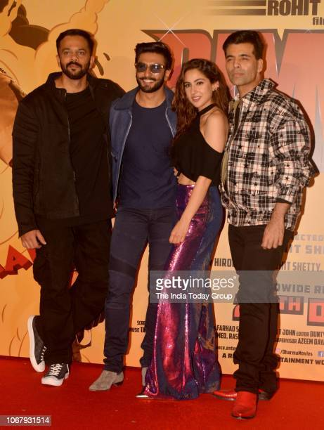 Ranveer Singh Rohit Shetty Karan Johar and Sara Ali Khan at the trailer launch of their movie Simmba in Mumbai