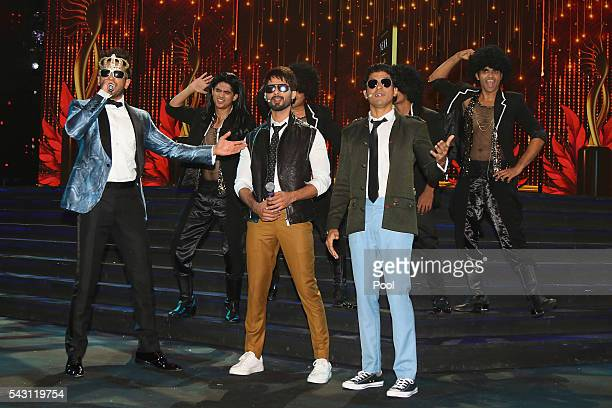 Ranveer Singh Shahid Kapoor and Farhan Akhtar attend the 17th IIFA Awards ceremony at Ifema on June 25 2016 in Madrid Spain