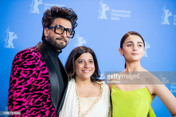 Ranveer Singh Zoya Akhtar and Alia Bhatt attend the 'Gully Boy' Photocall at the 69th Berlinale International Film Festival Berlin on February 9 in...