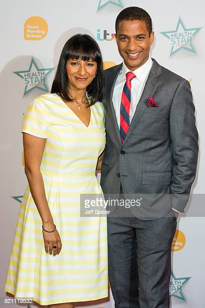 Ranvir Singh and Sean Fletcher arrive for Good Morning Britain's Health Star Awards at Hilton Park Lane on April 14 2016 in London England