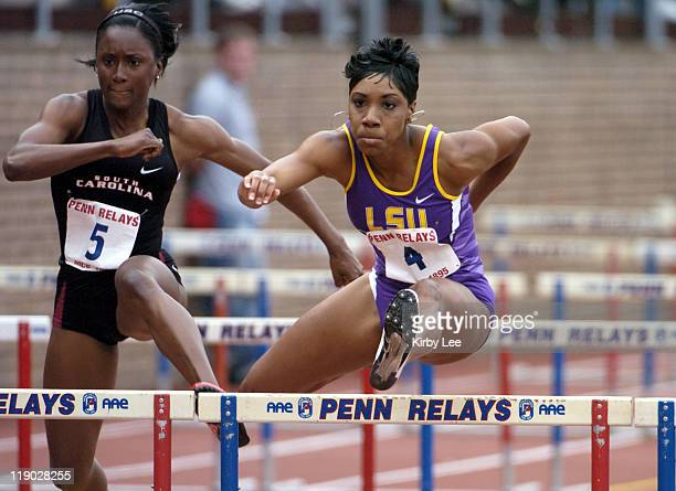 RaNysha LeBlanc of LSU wins college women's 100meter hurdle heat in 1341 in the 111th Penn Relays at Franklin Field in Philadelphia Pa on Friday...