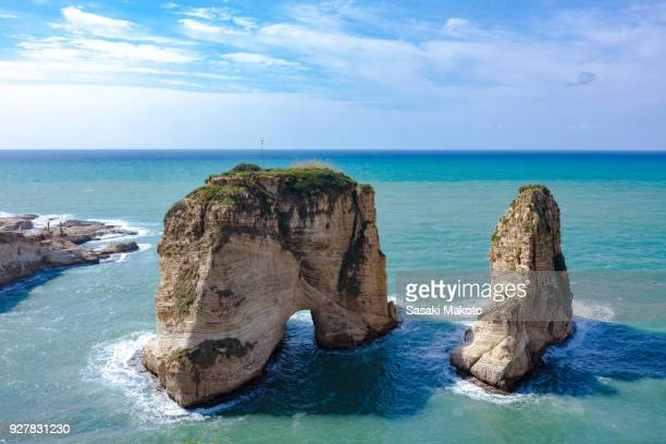raouche rocks - beirut stock pictures, royalty-free photos & images