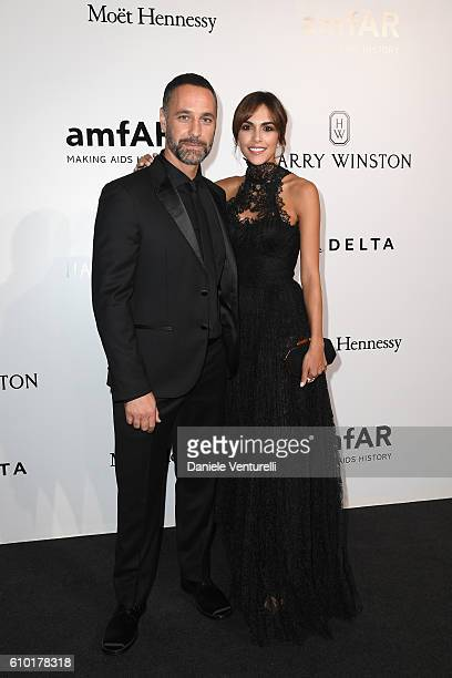 Raoul Bova and Rocío Munoz Morales walks the red carpet of amfAR Milano 2016 at La Permanente on September 24 2016 in Milan Italy