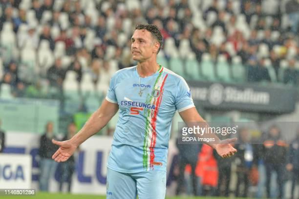 Raoul Bova of Italian National Singers seen making a gesture during the 'Partita Del Cuore' Charity Match at Allianz Stadium Campioni Per La Ricerca...