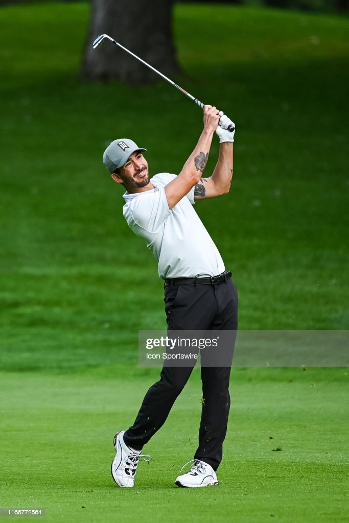 Raoul Menard takes a swing on the fairway of the eleventh hole during...  News Photo - Getty Images