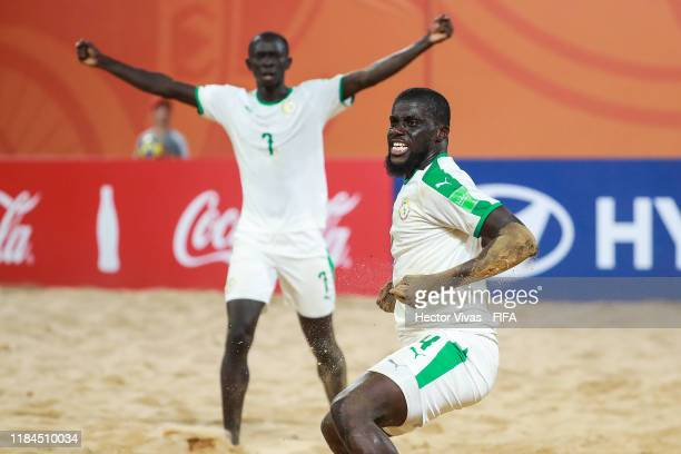 Raoul Mendy of Senegal celebrates after scoring a goal of his team during the FIFA Beach Soccer World Cup Paraguay 2019 group C match between Belarus...