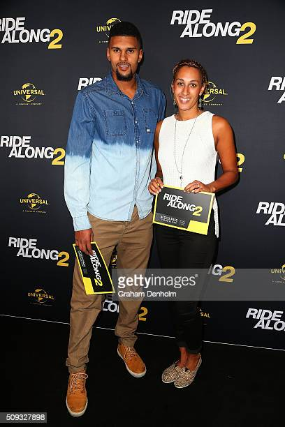 Raoul Mentor and Geva Mentor arrive ahead of the Ride Along 2 Australian Premiere at Hoyts Melbourne Central on February 10, 2016 in Melbourne,...
