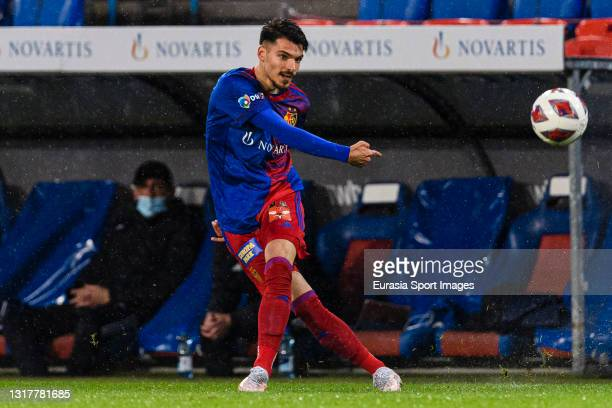 Raoul Petretta of Basel looks to bring the ball down during the match between FC Basel 1893 and FC Lugano at St. Jakob-Park Stadium on May 11, 2021...
