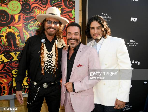 Raoul Trujillo Michael Irby and Richard Cabral arrive at the premiere of FX's Mayan MC Season 2 at ArcLight Cinerama Dome on August 27 2019 in...