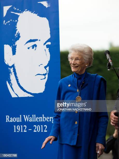 Raoul Wallenberg's sister Nina Lagergren smiles during the inauguration of Raoul Wallenberg memorial outside the Ministry for Foreign Affairs in...