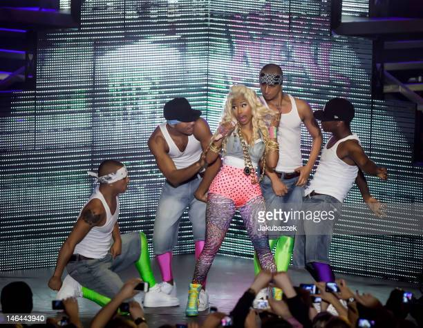 US rap and RB singer Nicki Minaj performs live during a concert at the Tempodrom on June 16 2012 in Berlin Germany