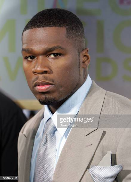 Rap Artist 50 Cent arrives at the 2005 MTV Video Music Awards at the American Airlines Arena on August 28 2005 in Miami Florida