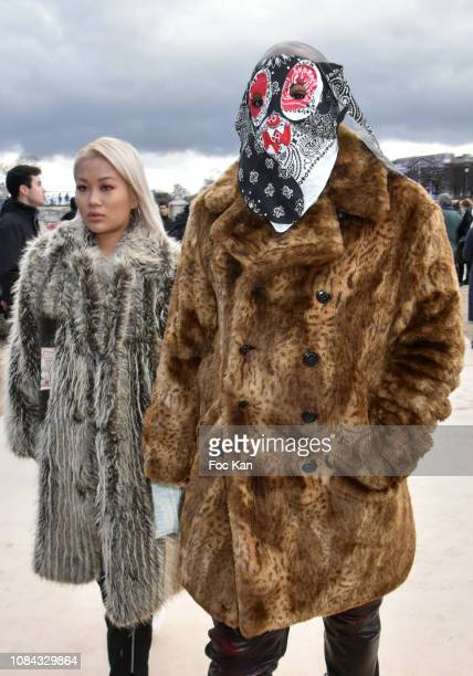 Rap artist ASAP Bari and his guest attend the Louis Vuitton Menswear Fall/Winter 20192020 show as part of Paris Fashion Week on January 17 2019 in...