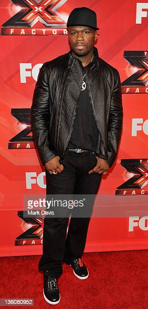 Rap Artist Curtis '50 Cent' Jackson poses at Fox Television's 'The X Factor' Season Finale at CBS Television City on December 22 2011 in Los Angeles...