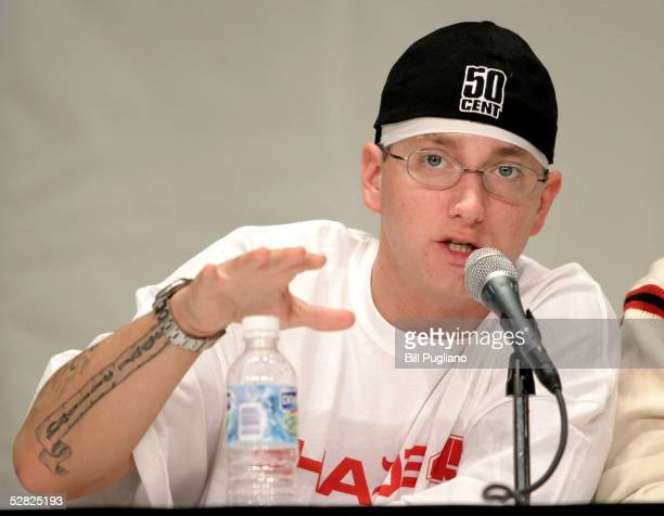 Rap artist Eminem speaks about his financial past and present at the 1st Financial Hip Hop Summit May 14, 2005 in Detroit, Michigan. The summit,...