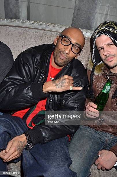 Rap artist Nessbeal aka Nabil Selhy and a guest attends the 'Canal Street' Concert Party at Cafe Carmen on January 26, 2011 in Paris, France.