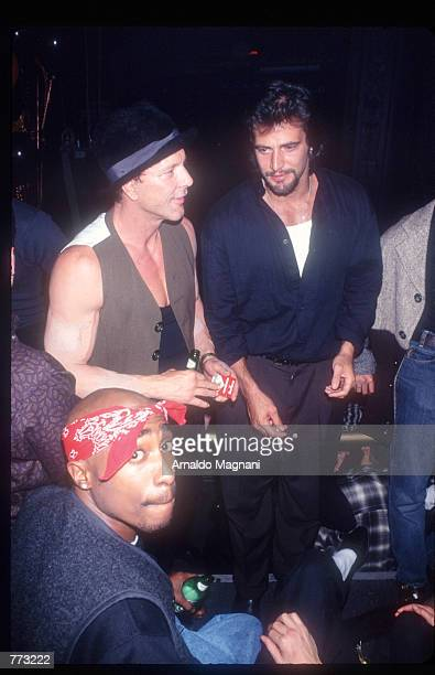Rap artist Tupac Shakur and other celebrities attend a fashion show party on November 2 1994 in New York City