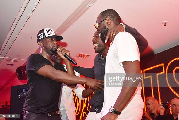 Rap artist Wyclef Jean actor Jimmy Jean Louis and Maitre Gims perform during the Wyclef Jean Party at VIP Room JW Marriott during the 69th annual...