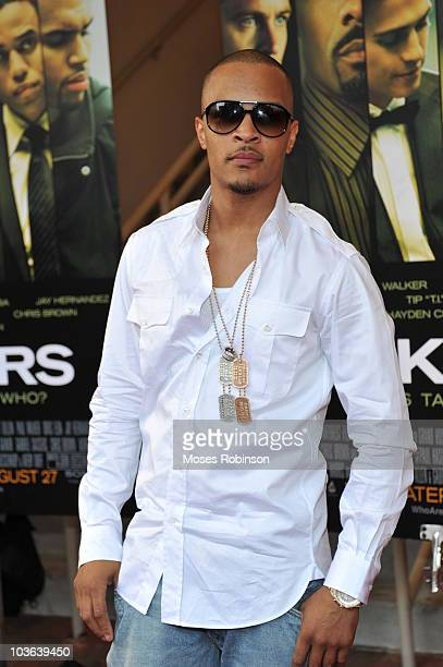 Rap Artist/Actor Tip 'TI' Harris attends the 'Takers' premiere at Regal Atlantic Station on August 24 2010 in Atlanta Georgia