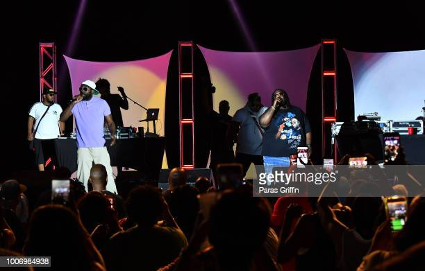 Rap duo 8Ball MJG perform onstage during 'The Legends of HipHop' concert at Wolf Creek Amphitheater on July 28 2018 in Atlanta Georgia
