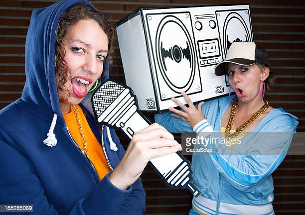 rap girl singing - hip hop stock pictures, royalty-free photos & images
